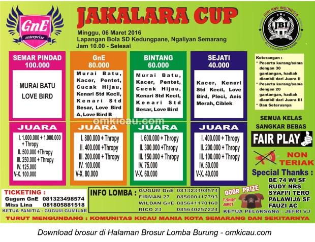 Brosur Lomba Burung Berkicau Jakalara Cup, Semarang, 6 Maret 2016
