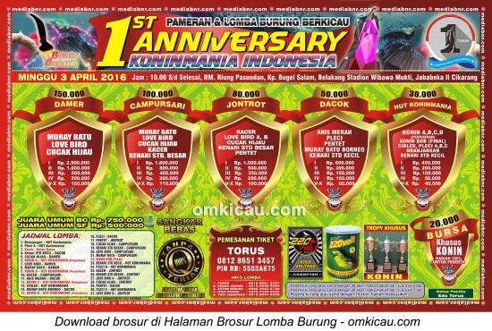 Brosur Lomba Burung Berkicau 1st Anniversary Koninmania Indonesia, Cikarang, 3 April 2016