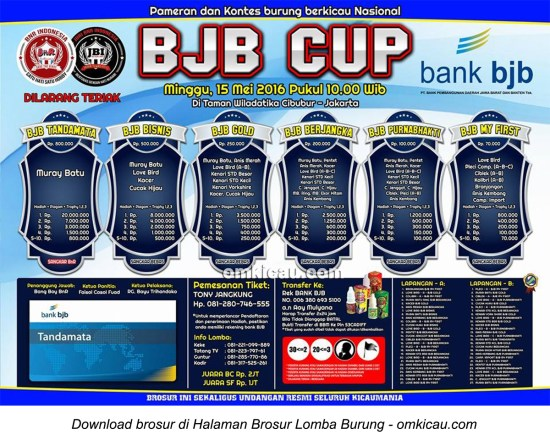 Brosur Lomba Burung Berkicau BJB Cup, Jakarta, 15 Mei 2016