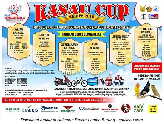 Brosur Lomba Burung Berkicau KASAU Cup, Bandung, 3 April 2016