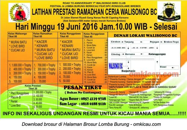 Brosur Latpres Ramadhan Ceria Walisongo BC, Brebes, 19 Juni 2016