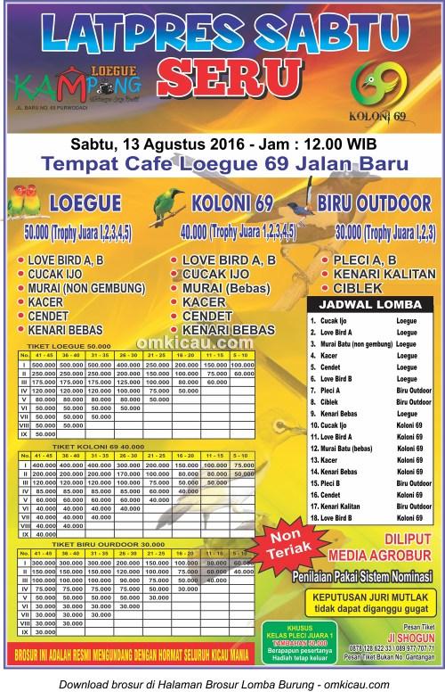 Brosur Latpres Sabtu Seru Kampung Loegue, Purwodadi, 13 Agustus 2016
