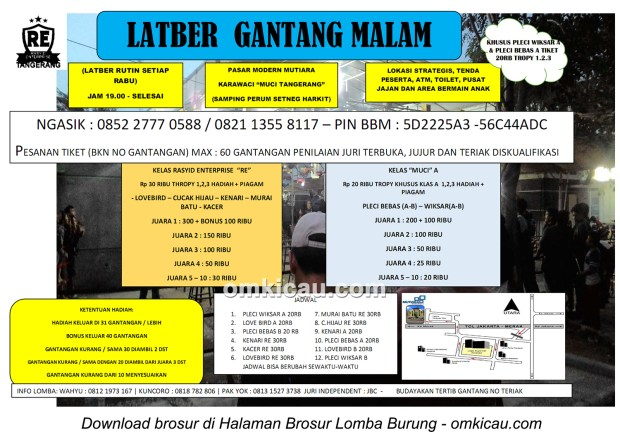 Brosur Latber Rutin Gantang Malam Rasyid Enterprise Tangerang setiap Rabu
