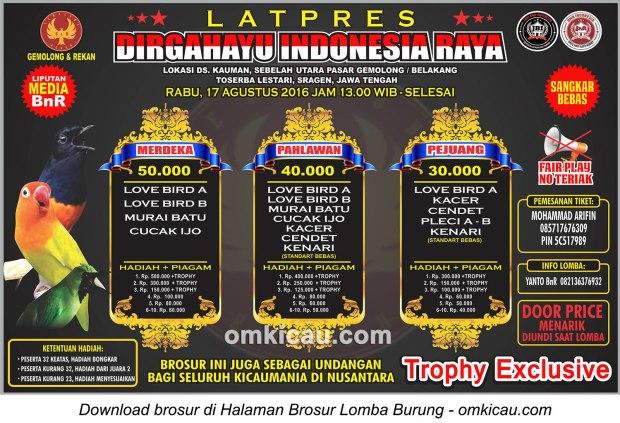 Brosur Latpres Dirgahayu Indonesia Raya G&R Sragen, 17 Agustus 2016