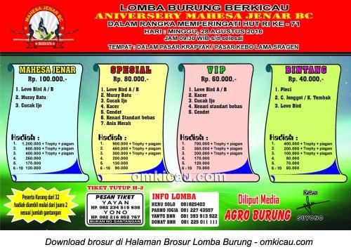 Brosur Lomba Burung Berkicau Anniversary Mahesa Jenar BC, Sragen, 28 Agustus 2016
