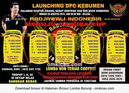 Brosur Lomba Burung Berkicau Launching Radjawali Indonesia DPC Kebumen, 28 Agustus 2016
