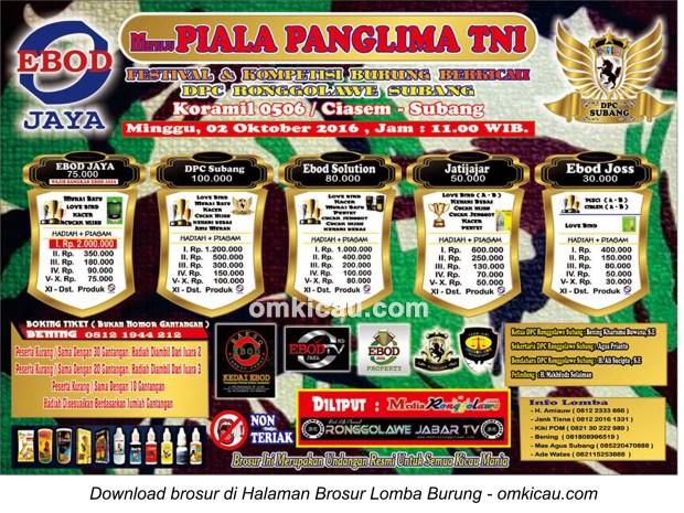 Brosur Lomba Burung Berkicau Menuju Piala Panglima TNI, Subang, 2 Oktober 2016