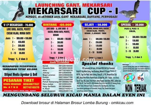 Brosur Lomba Burung Bekicau Mekarsari Cup I, Purwodadi, 16 Oktober 2016