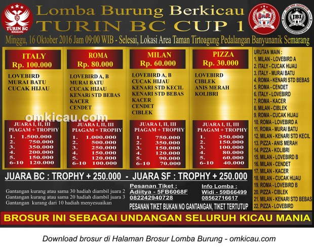 Brosur Lomba Burung Berkicau Turin BC Cup 1, Semarang, 16 Oktober 2016