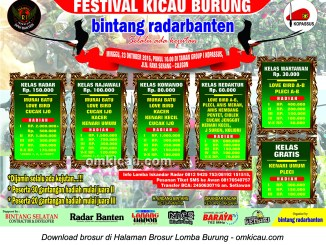 Brosur Festival Kicau Burung Bintang Radar Banten, Serang, 23 Oktober 2016