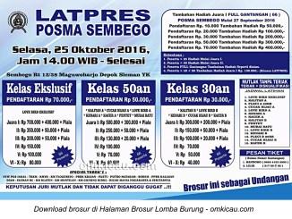 Brosur Latpres Burung Berkicau Posma Sembego, Jogja, 25 Oktober 2016
