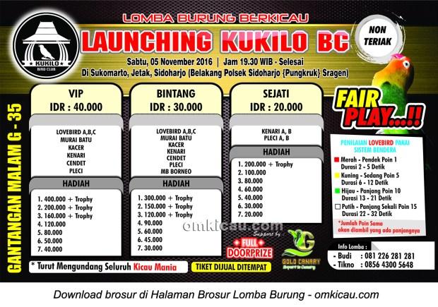 Brosur Lomba Burung Berkicau Launching Kukilo BC, Sragen, 5 November 2016
