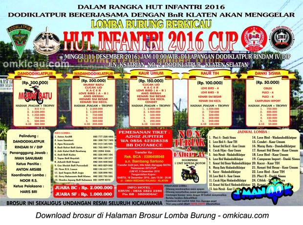 Brosur Lomba Burung Berkicau HUT Infantri Cup, Klaten, 11 Desember 2016