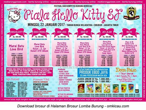 Brosur Lomba Burung Berkicau Piala Hello Kitty SF, Jakarta, 22 Januari 2017