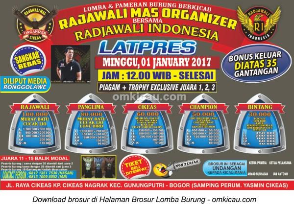 Brosur Latpres Rajawali Mas Organizer bersama Radjawali Indonesia, Bogor, 1 Januari 2017