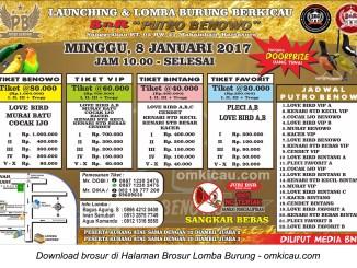 Brosur Lomba Burung Berkicau BnR Putro Benowo, Kartasura, 8 Januari 2017