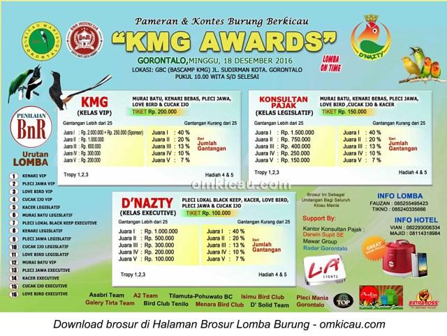 Brosur Lomba Burung Berkicau KMG Awards, Gorontalo, 18 Desember 2016