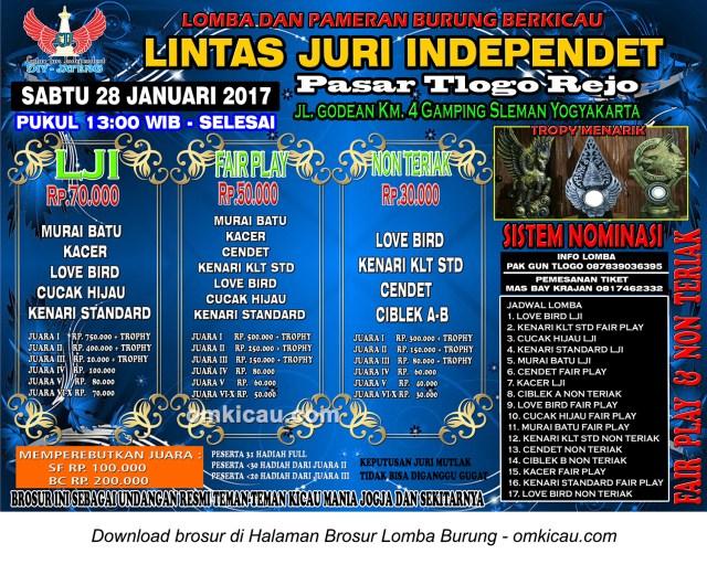 Brosur Latpres Burung Berkicau Lintas Juri Independent, Jogja, 28 Januari 2017