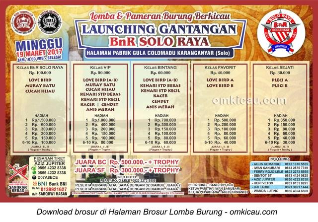 Brosur Lomba Burung Berkicau Launching Gantangan BnR Solo Raya, Karanganyar, 19 Maret 2017