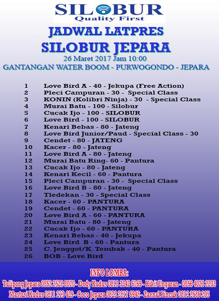 JADWAL LATPRES SILOBUR JEPARA 2017