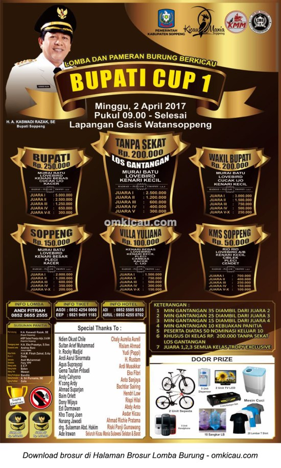 Brosur Lomba Burung Berkicau Bupati Cup 1, Watansoppeng, 2 April