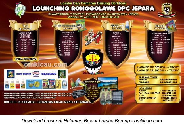 Brosur Lomba Burung Berkicau Launching Ronggolawe DPC Jepara, 23 April 2017
