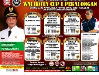 Brosur Lomba Burung Berkicau Wali Kota Cup I, Pekalongan, 30 April 2017