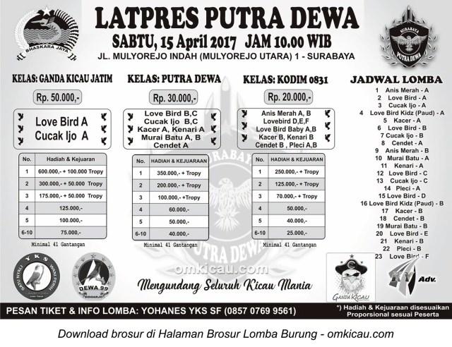 Brosur Latpres Burung Berkicau Putra Dewa, Surabaya, 15 April 2017
