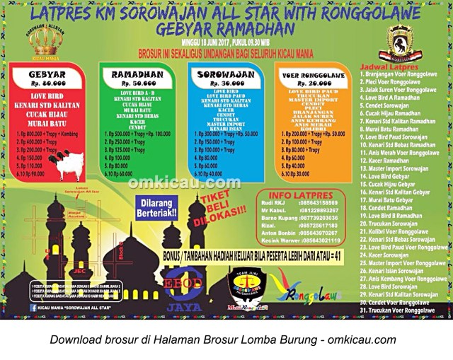 Brosur Latpres Gebyar Ramadhan KM Sorowajan All Star with Ronggolawe, Bantul, 18 Juni 2017