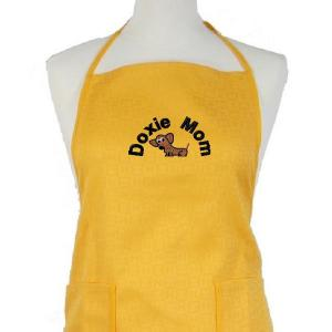 dachshund embroidery design on an apron