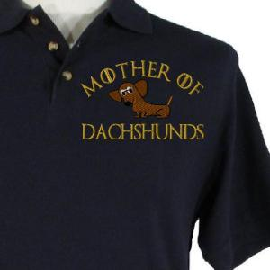 MOTHER OF DACHSHUNDS embroidery design on a BLUE SHIRT