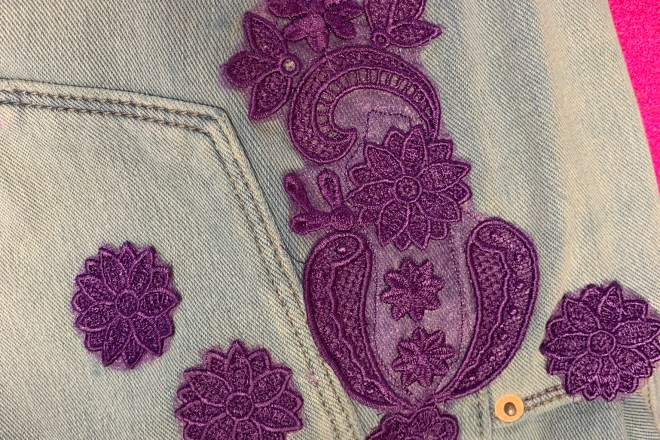 335a58a1615e9 ... how to add lace to jeans