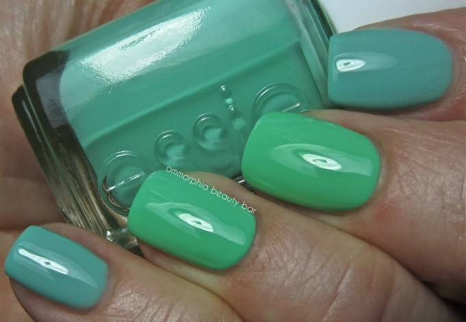 Essie First Timer vs Turquoise & Caicos swatch