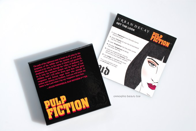 UD Pulp Fiction palette with instruction card