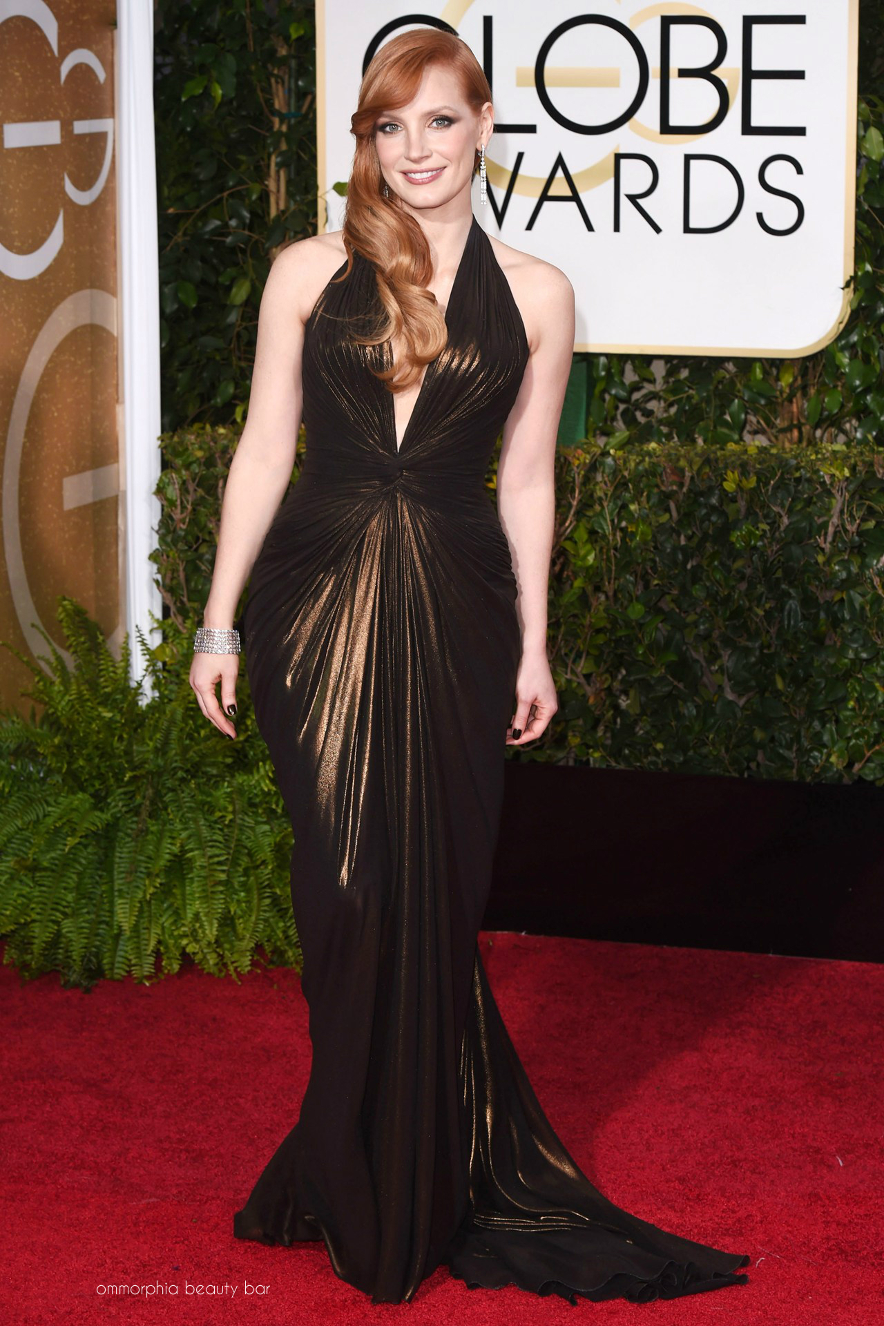 54b5af2f5c2 Golden Globes 2015 Jessica Chastain. Jessica Chastain in a Versace gown