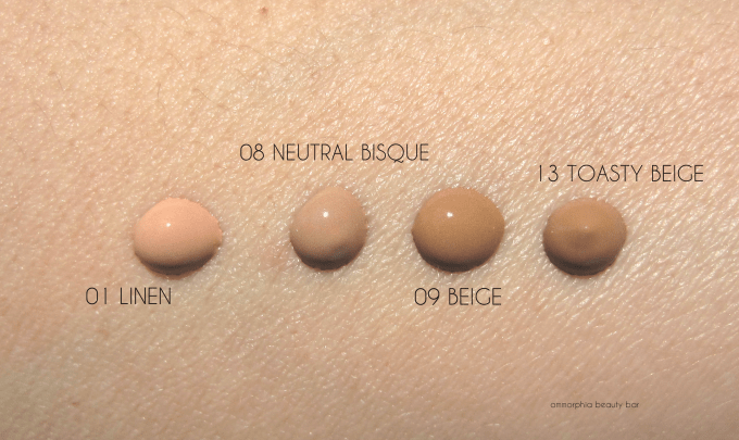 EA Flawless Finish foundation swatches 1