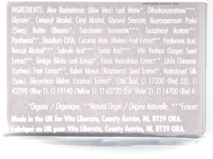 Vita Liberata Luxury Tan ingredients