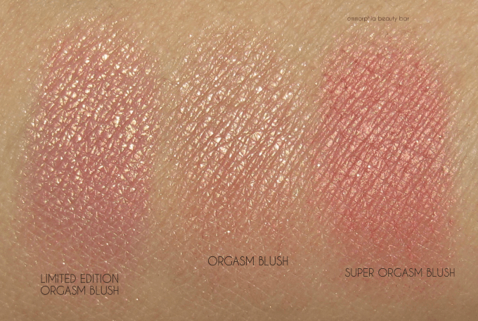 NARS LE Orgasm Blush & Comps swatches