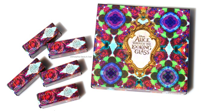 UD Alice Through the Looking Glass palette & lipsticks packaging
