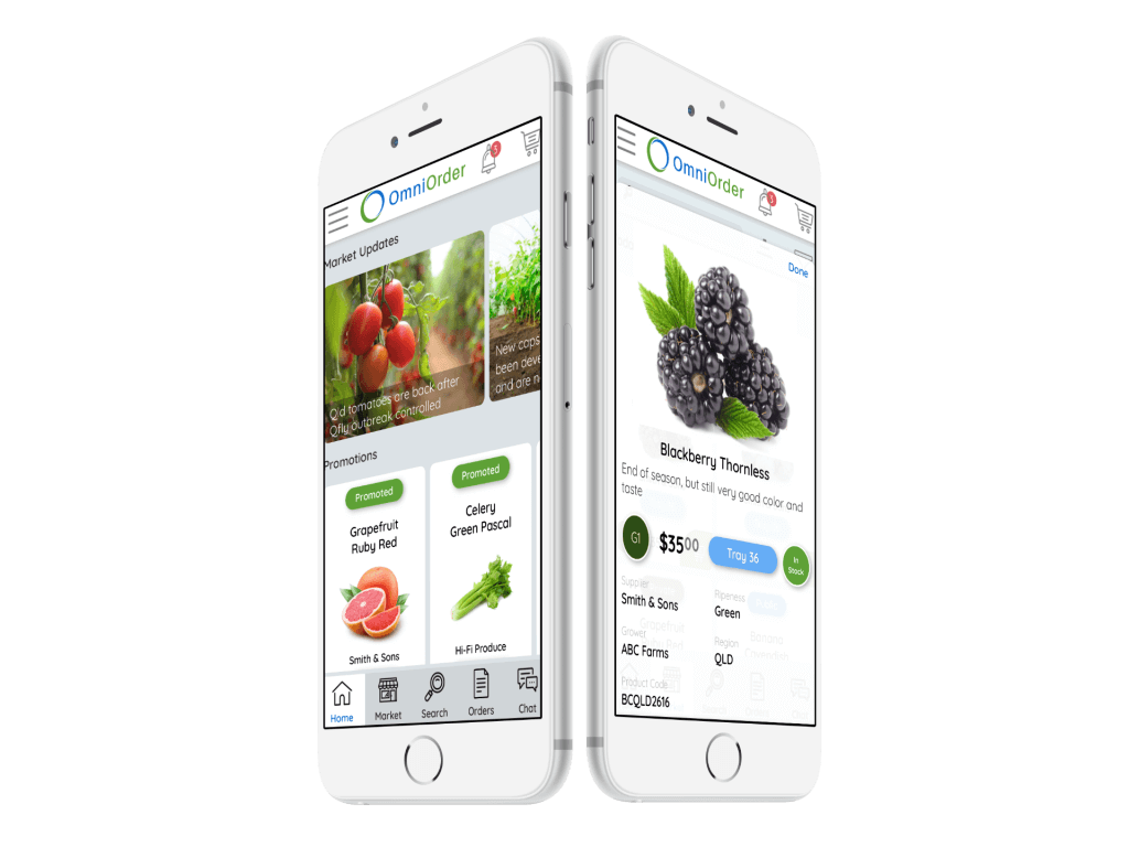 Buyers can view fresh produce from multiple sellers