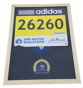 Boston Marathon, display frame, medal