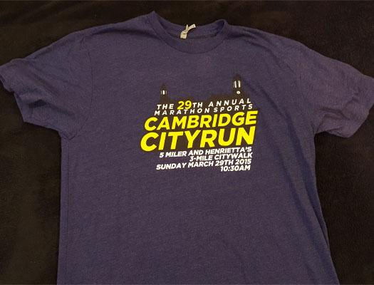 Favorite race shirts, Cambridge City Run
