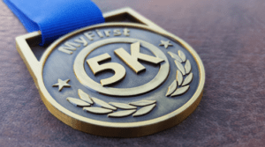 My First 5K medal, runners medal, hallmark health stride for healthy communities
