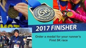 first time running medal, 5k running medal, 5k running medals