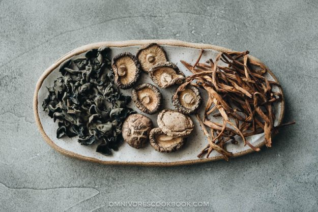 Hot and sour soup dried ingredients - shiitake mushrooms, lily flowers, wood ear mushroom