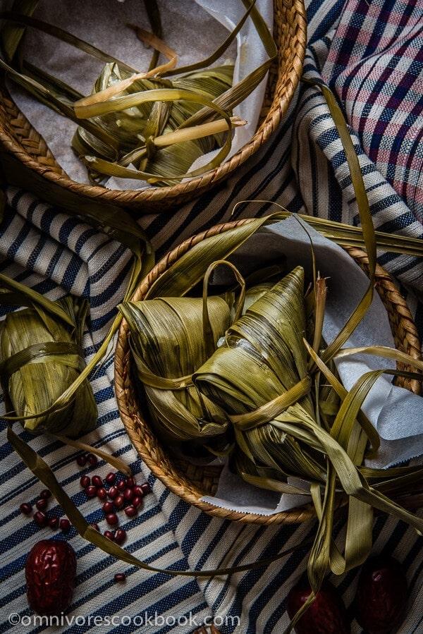 Zongzi with Red Bean Paste (Sticky Rice Dumplings)   omnivorescookbook.com