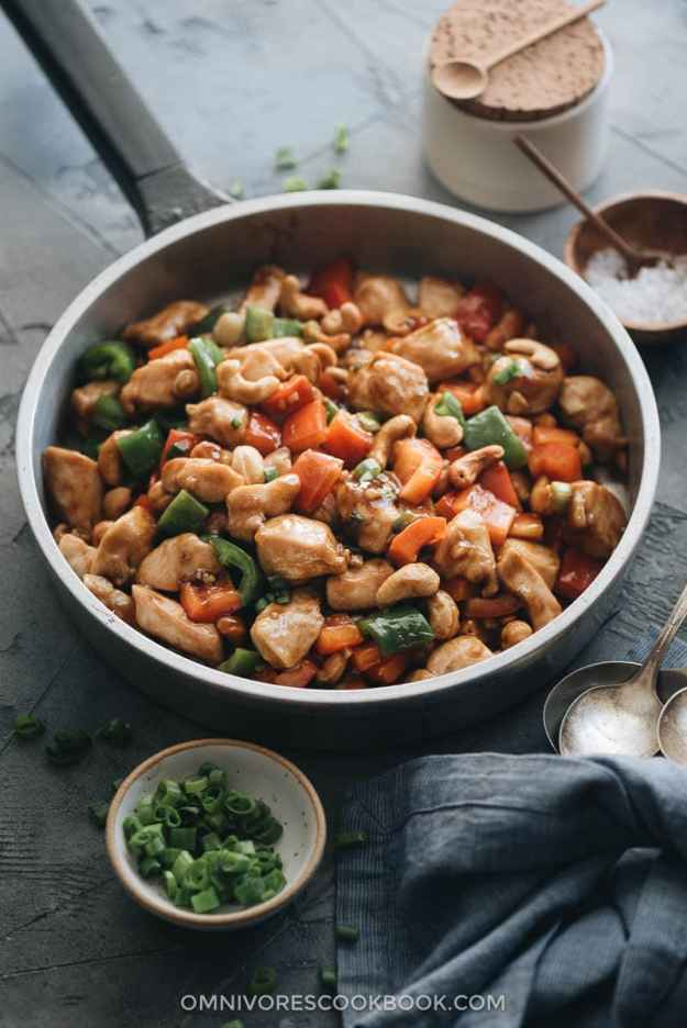 Restaurant style cashew chicken in a pan