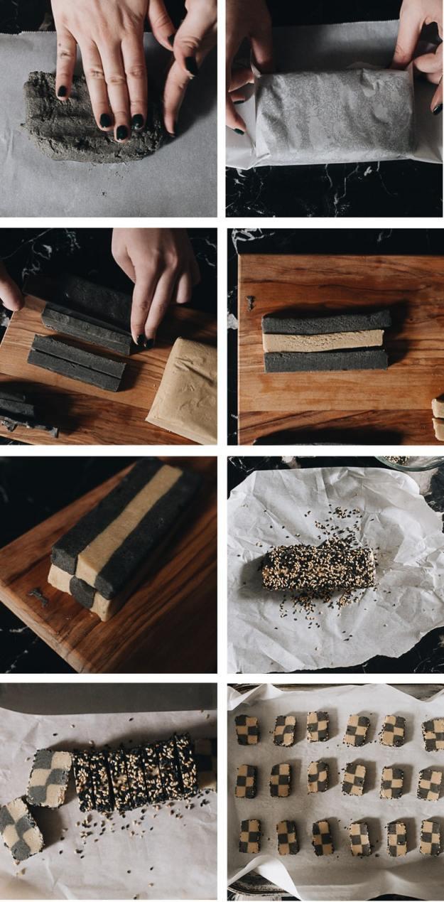 Sesame checkerboard cookies cooking step-by-step