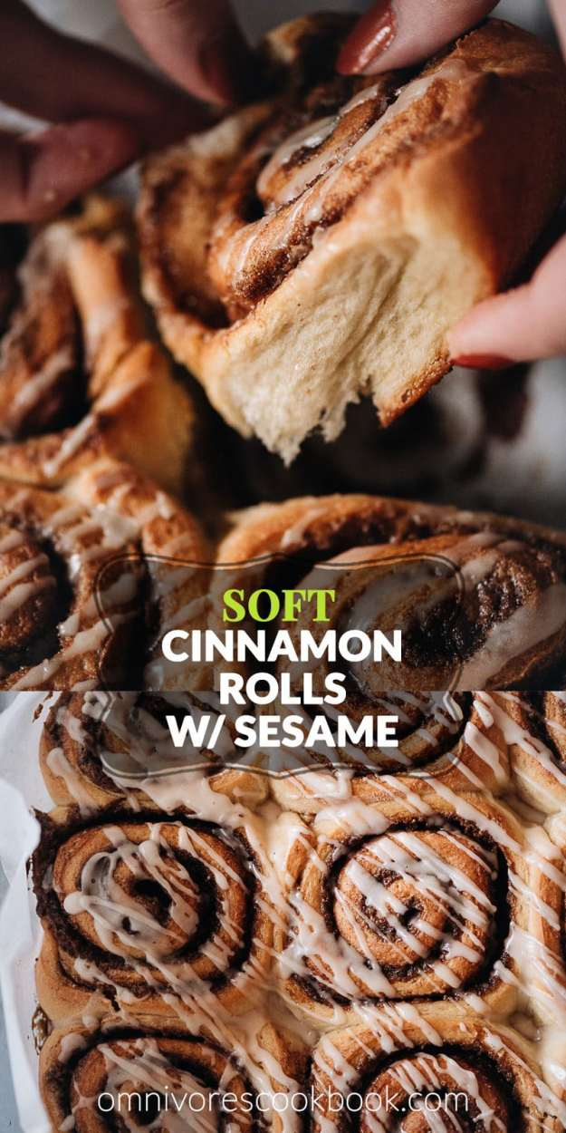 Soft Cinnamon Rolls with Sesame | Easy homemade cinnamon rolls made with a Japanese milk bread formula to create an airy, fluffy texture with a crispy crust, stuffed with cinnamon sugar and a buttery sesame paste. Using a mixer, they're easy to put together and the result is better than Cinnabon. Cooking video is included