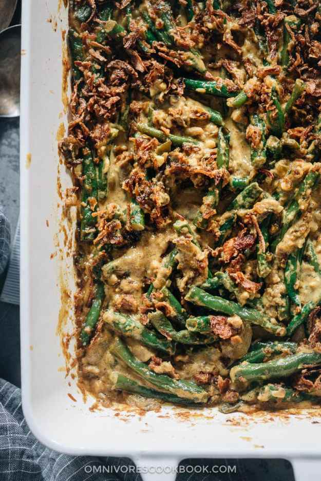 Curried green bean casserole with fried shallots on top